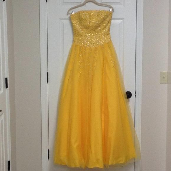 Precious Formals Dresses   Stunning Beaded Yellow Ball Gown   Poshmark